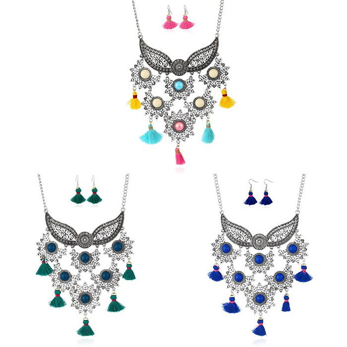 Face Mask Tassel Pendant Necklace with Earrings