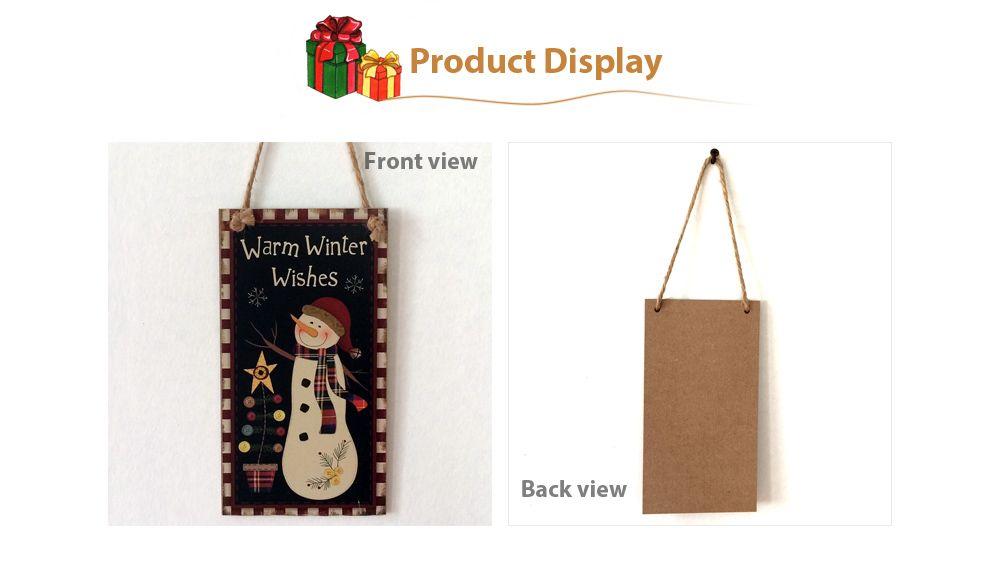 Christmas Snowman Pattern Door Wooden Hanging Sign