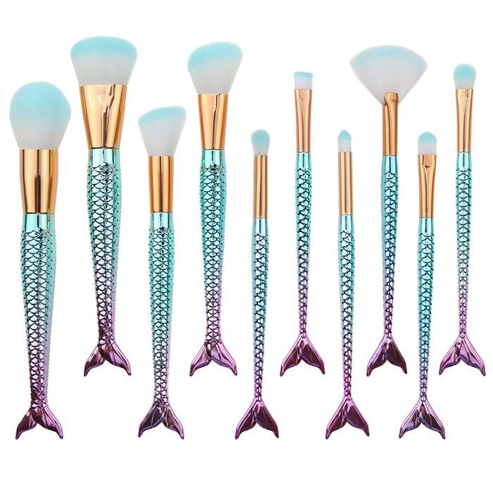10 Pieces Ombre Fantasy Fishtail Powder Brush Kits