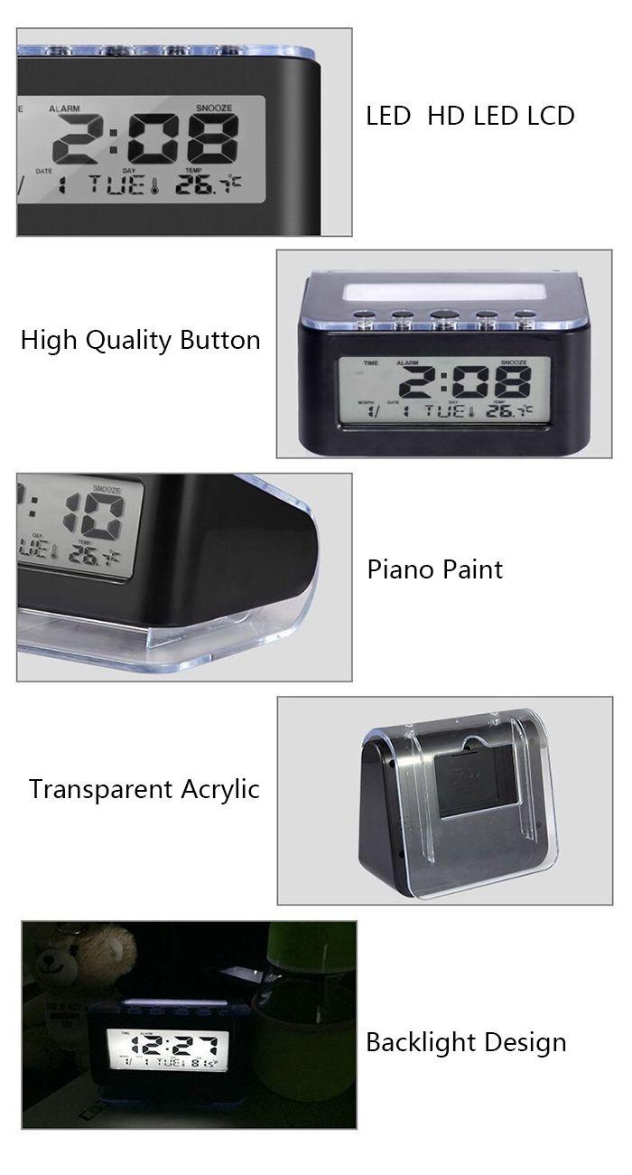 Backlit Temperature Display Snooze Alarm Clock