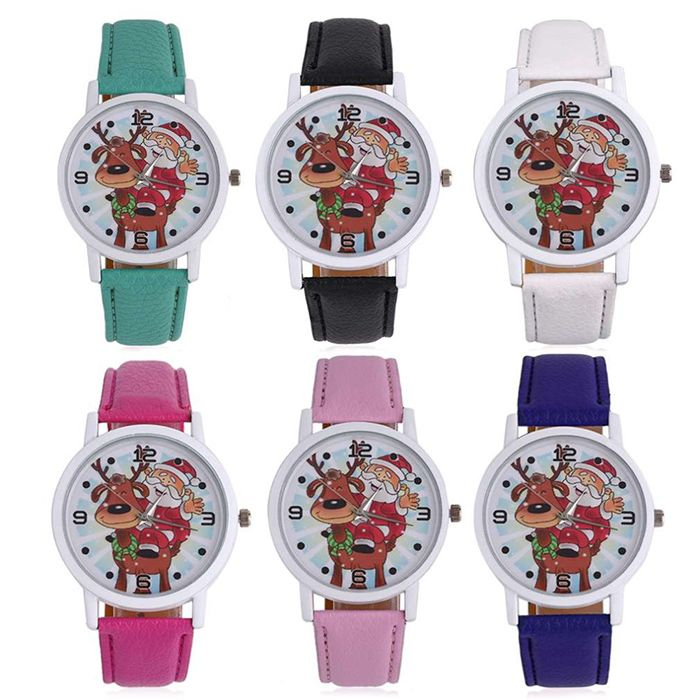 Christmas Deer Santa Face Faux Leather Watch