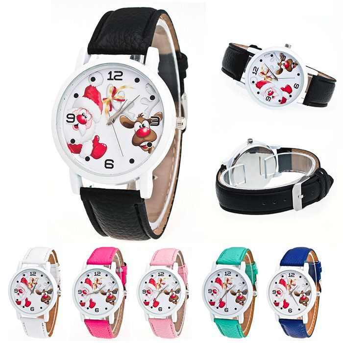 Christmas Santa Deer Face Faux Leather Watch