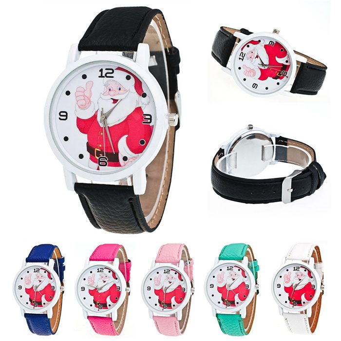 Christmas Santa Claus Face Faux Leather Watch