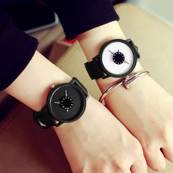 Faux Leather Strap Number Round Quartz Watch