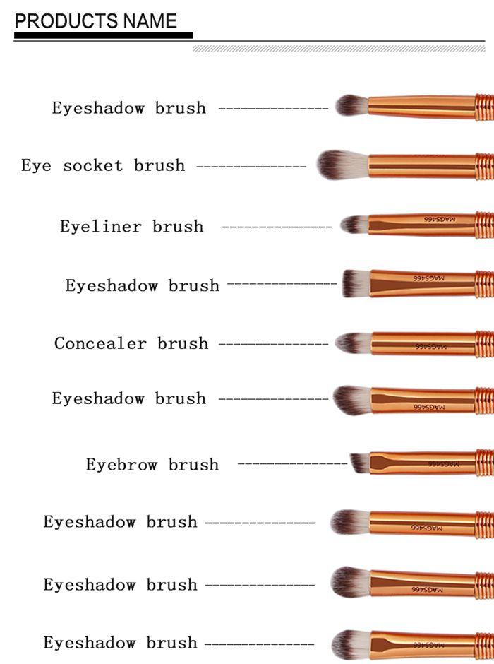10Pcs Slim Handle Eyeshadow Brush Suit