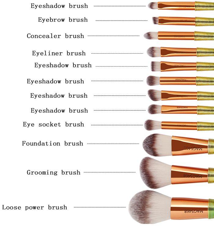 12 Pieces Ombre Color Handle Makeup Brushes Set