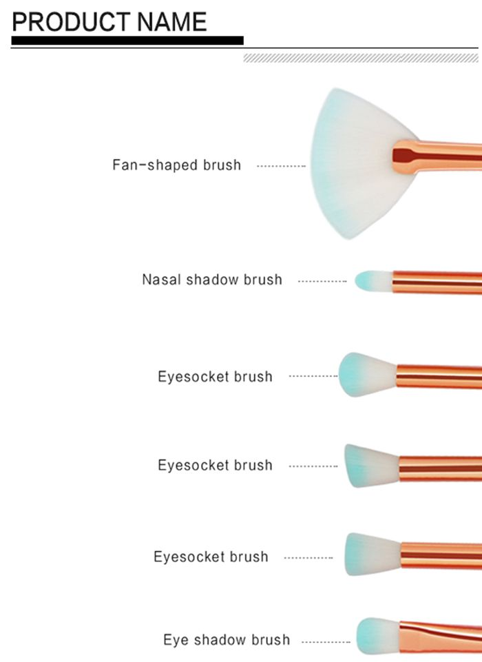 11Pcs Mermaid Ombre Makeup Brush Set