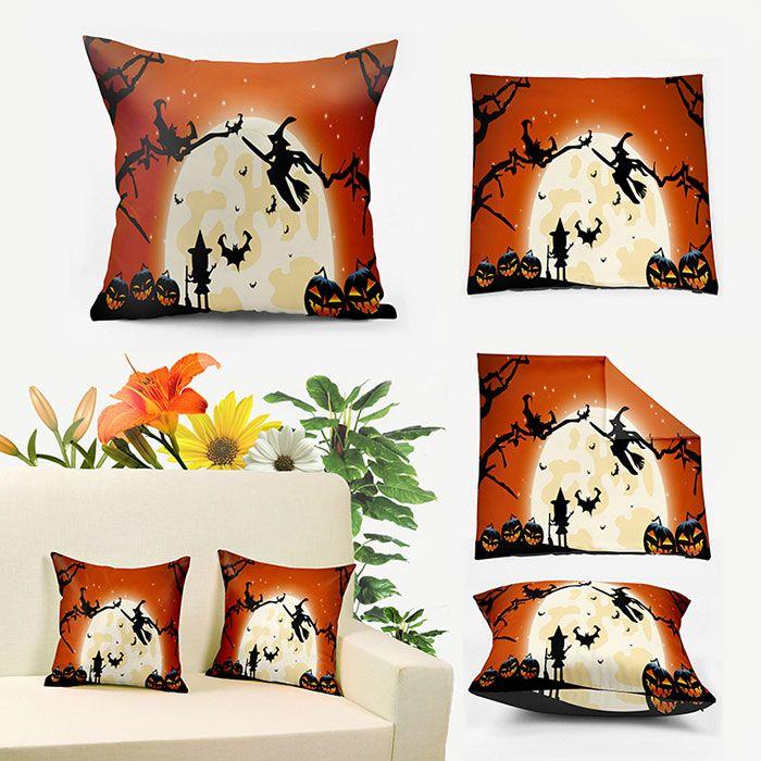 Halloween Witch Pumpkin Lantern Moon Pillowcase
