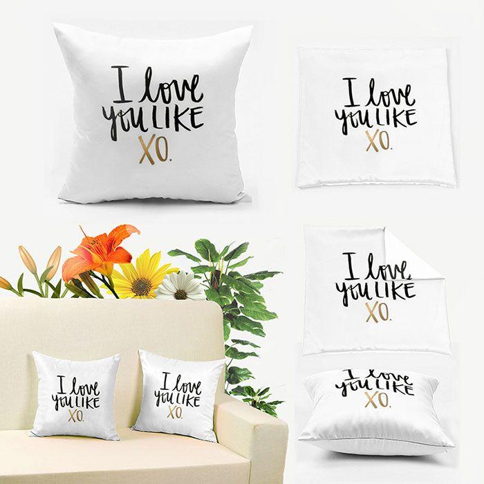 I Love You Like XO Letter Print Square Pillowcase