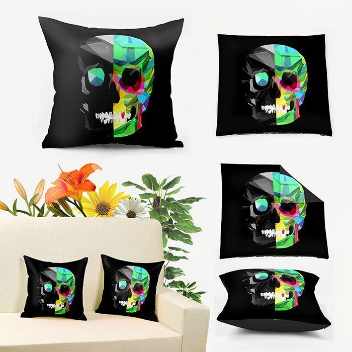 Novelty Skull Print Square Pillowcase