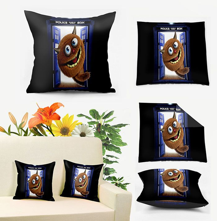 Monster Police Box Print Square Pillow Case