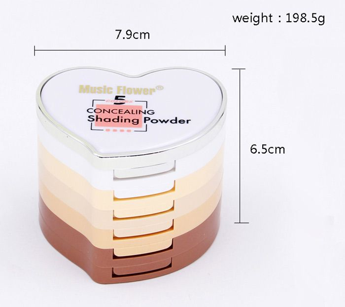 5 Colors Heart Shape Layered Concealing Shading Powder
