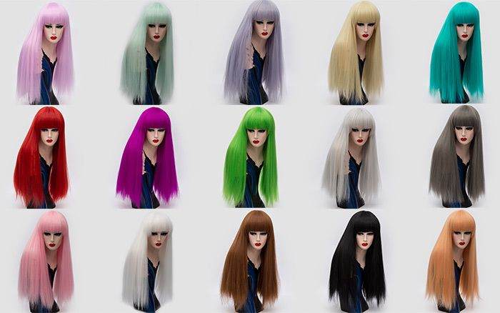Long Full Bang Fluffy Straight Cosplay Lolita Synthetic Wig