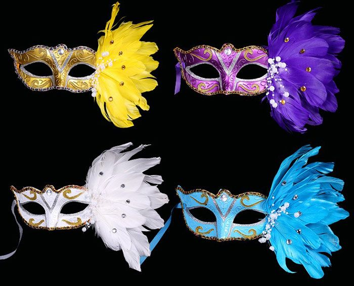 Venice Party Masquerade Mask with Feather