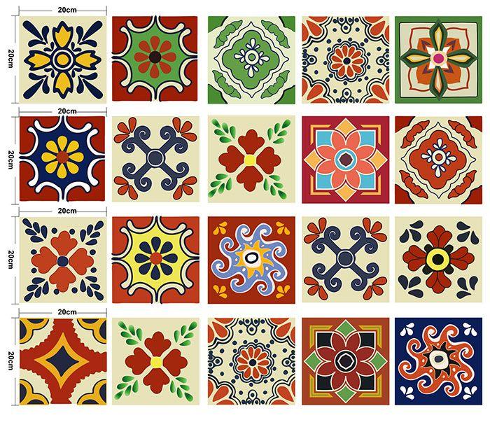 European Antislip Floor Decals Flower Wall Tile Stickers Set