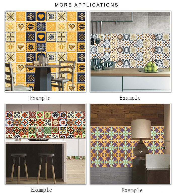 Geometric Flower Nonslip Floor Decals European Wall Tile Stickers Set