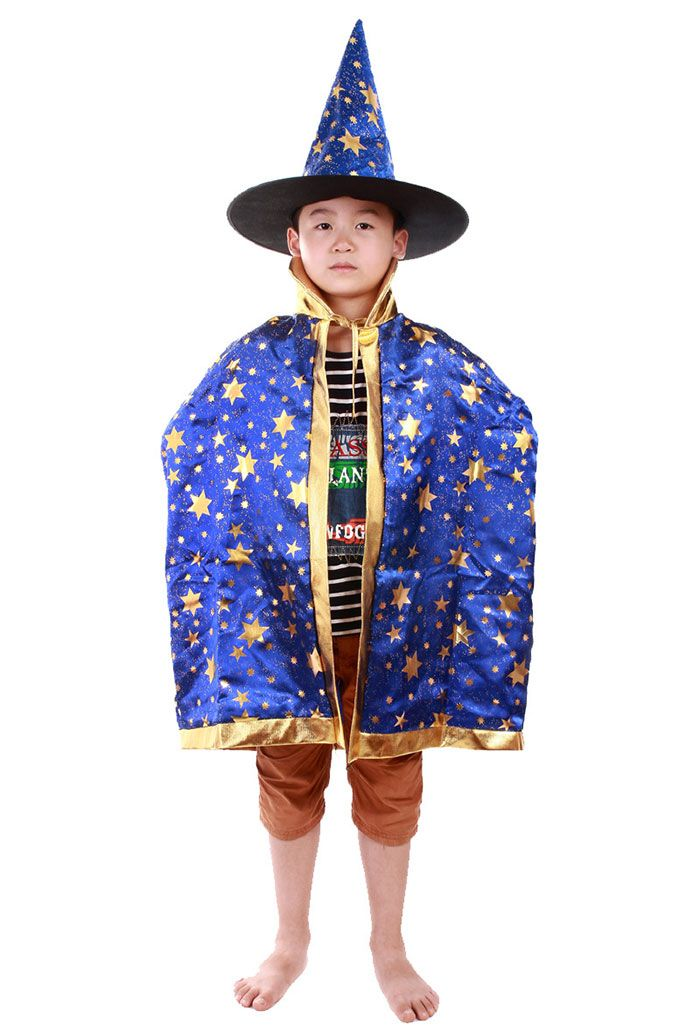 Halloween Party Cosplay Costume Witch Wizard Stars Cloak and Hat for Children