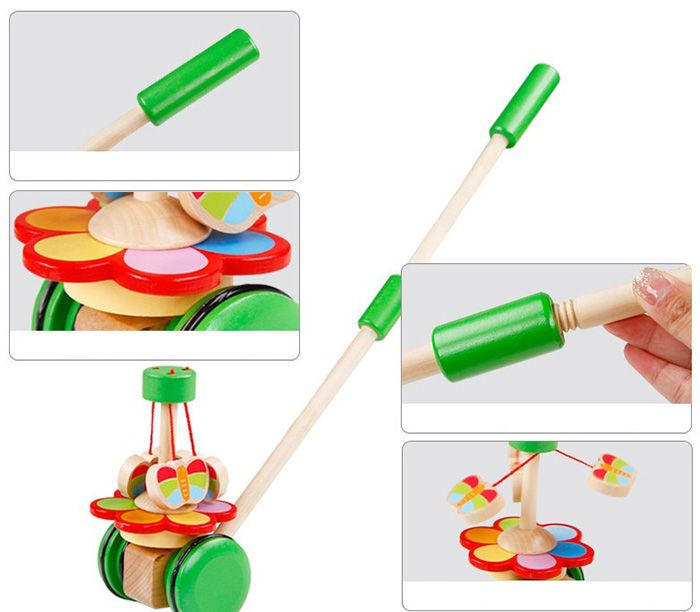Wooden Rotate Butterfly Single Pole Handcart Baby Walker Doll