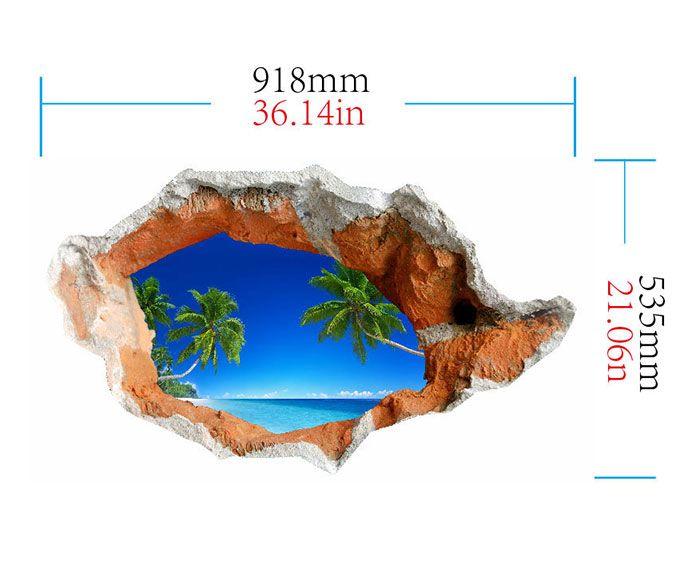 3D Hole Coconut Tree Floor Decal Waterproof Wall Sticker