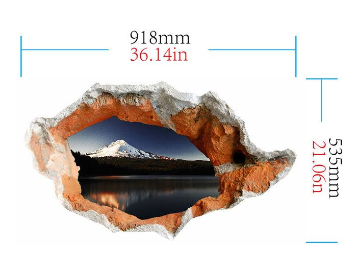 3D Hole Floor Decal Snow Mountain Stone Stream Wall Sticker