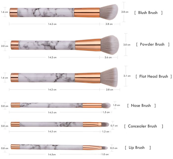 6 Pieces Marble Pattern Makeup Brush Set