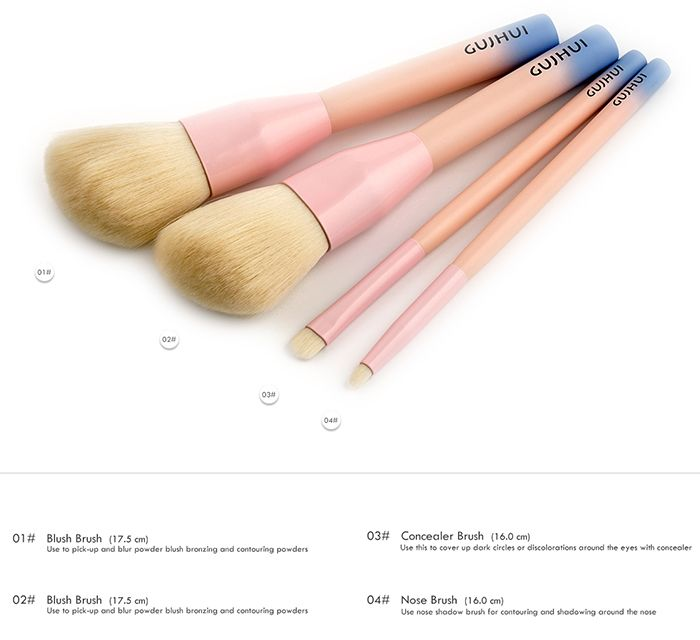 4 Pieces Three Tones Makeup Brush Set