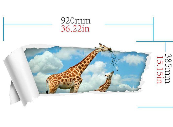 3D Floor Decal Removable Giraffe Wall Sticker