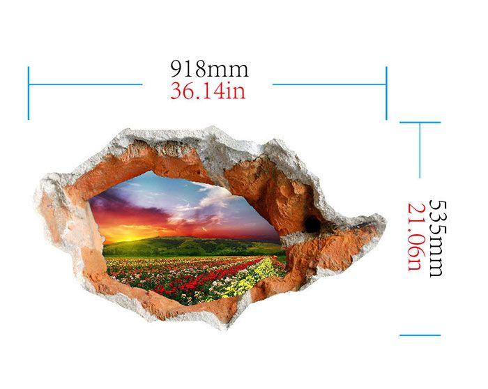 3D Hole Landscape Waterproof Wall Sticker