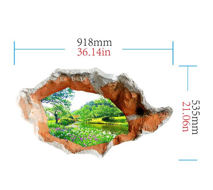 3D Hole Landscape Removable Wall Art Sticker
