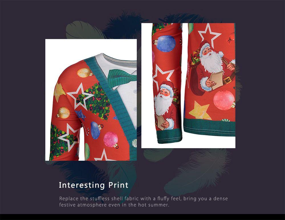 Christmas Tree Santa Print Long Sleeve T-shirt