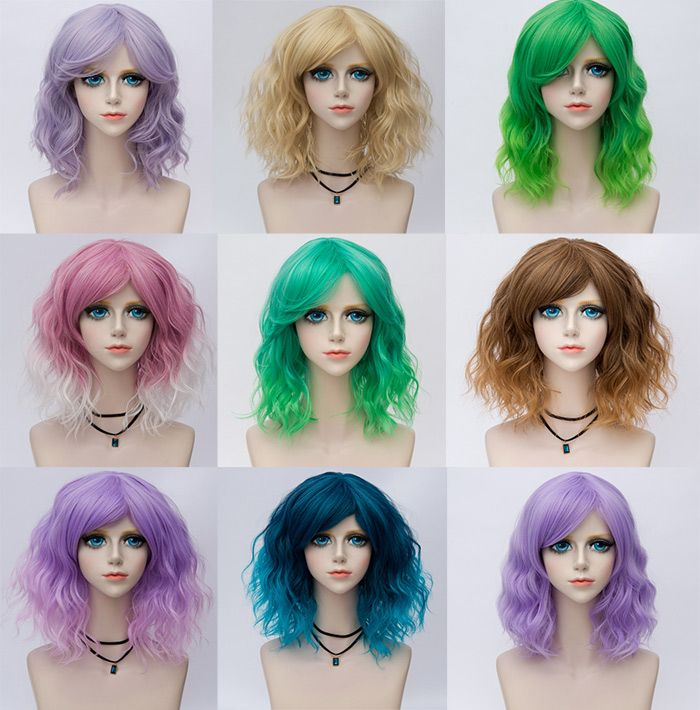 Medium Side Bang Ombre Water Wave Party Cosplay Synthetic Wig