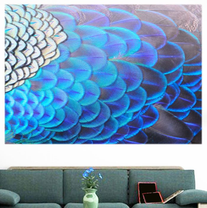 Shiny Peacock Feathers Printed Decorative Wall Art Painting