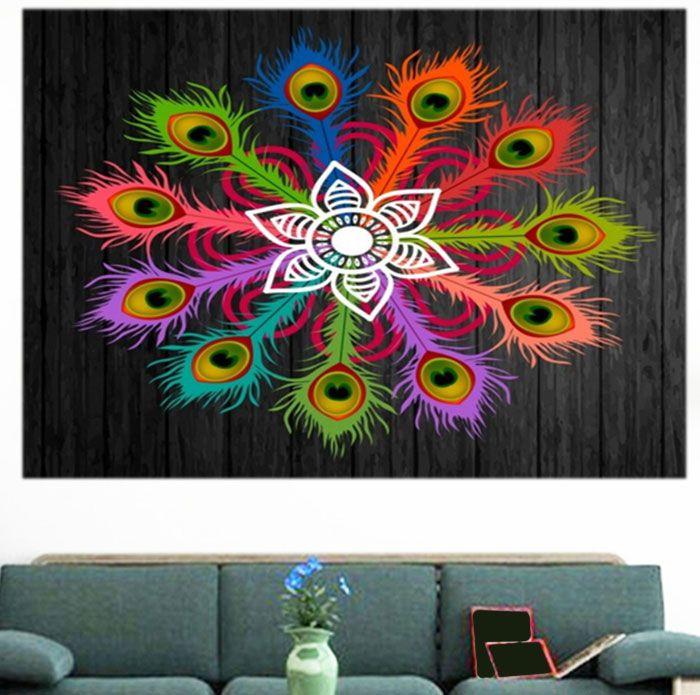 Peacock Feathers Flowers Print Multifunction Wall Art Painting
