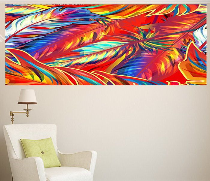 Multifunction Wall Art Decorative Colorful Feathers Painting