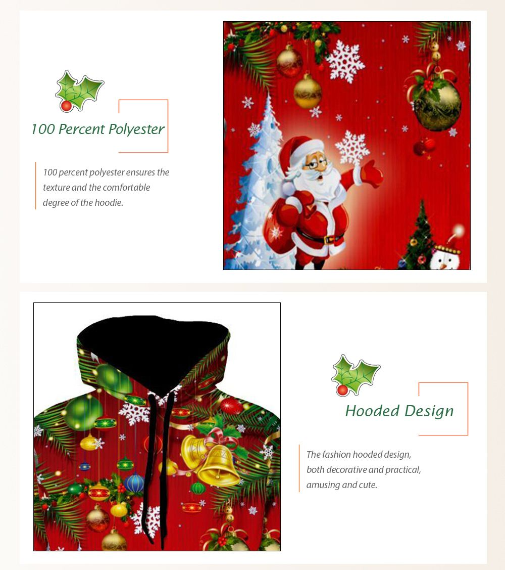 christmas tree jingle bells santa christmas hoodie red m in