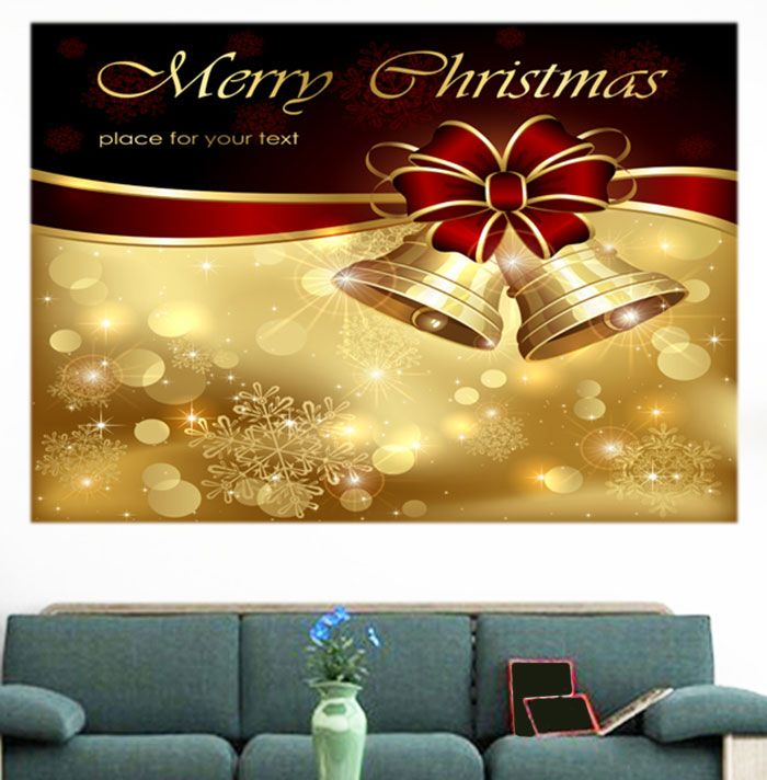 Christmas Bowknot Bells Pattern Multifunction Wall Art Painting