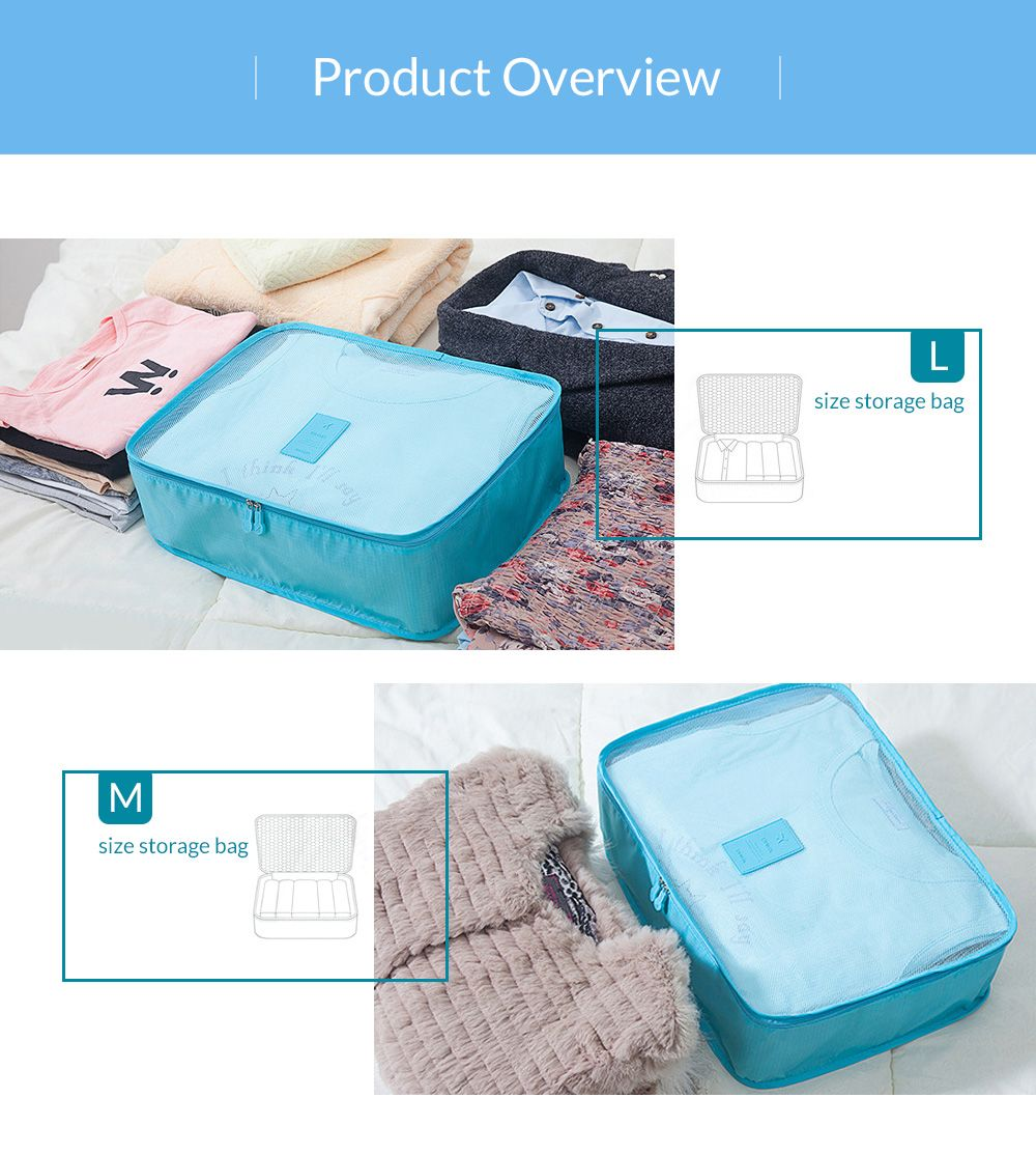 6 Pcs Waterproof Travel Organizer Storage Bags
