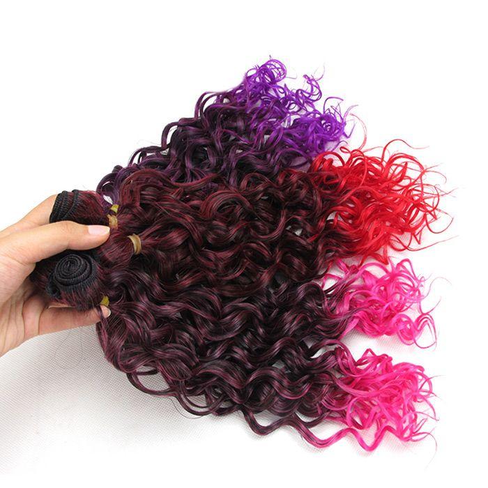6Pcs Medium Ombre Shaggy Wavy Synthetic Hair Weaves
