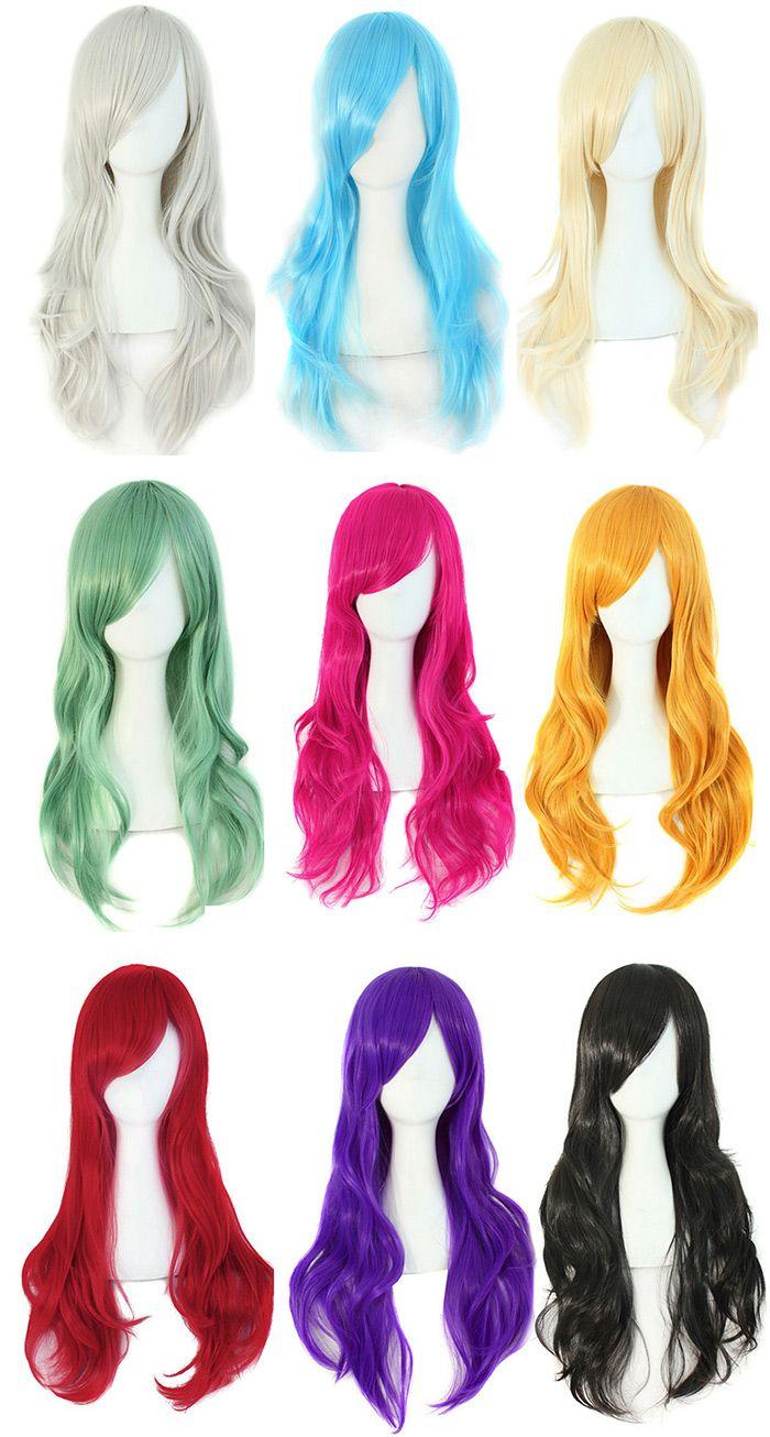 Long Inclined Bang Wavy Cosplay Synthetic Wig
