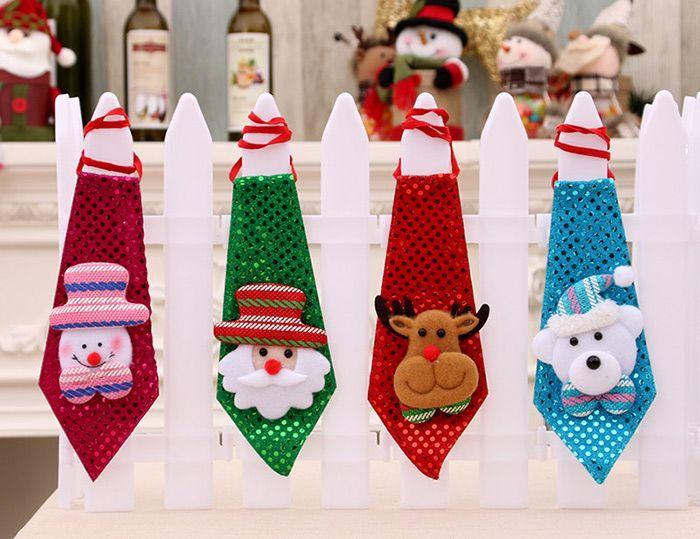 Christmas Hanging Decorations LED Lights Paillette Neck Tie