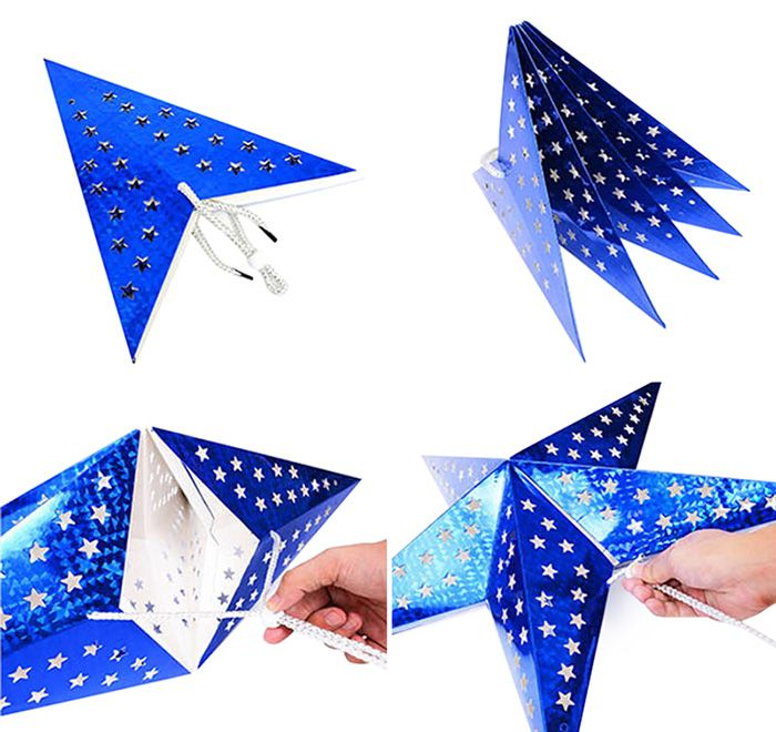 10Pcs Christmas Party Star Laser Hang Decorations