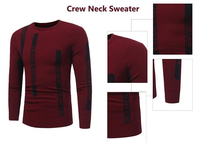 Crew Neck Graphic Print Ribbed Pullover Sweater