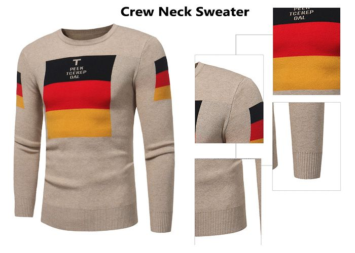 Crew Neck Color Block Graphic Print Pullover Sweater