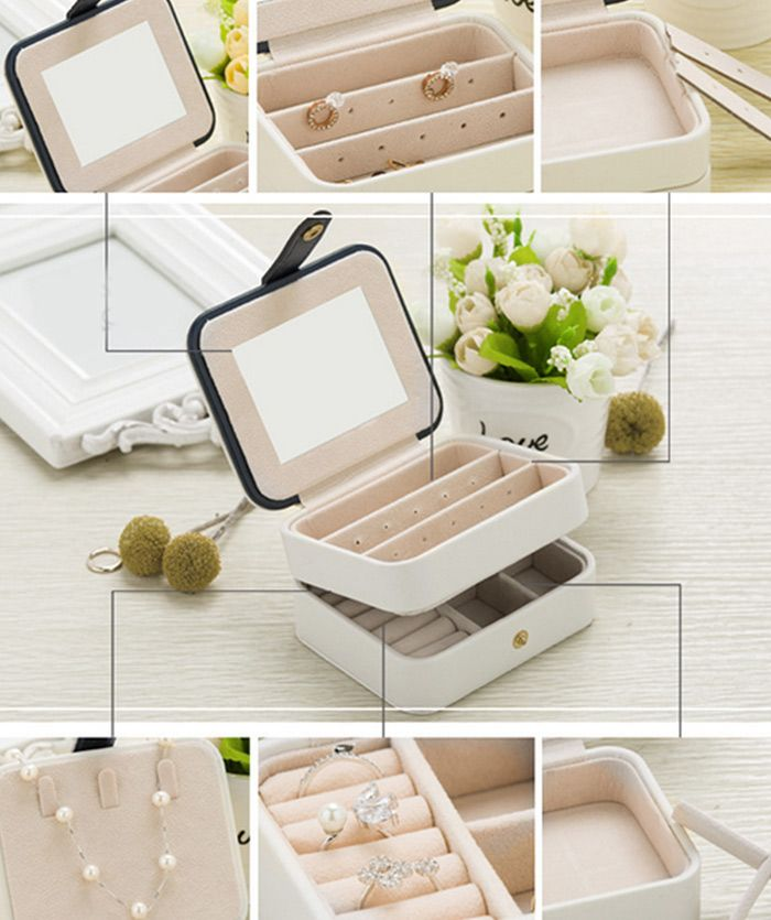 Vintage Two Layers with Mirror Jewelry Storage Box