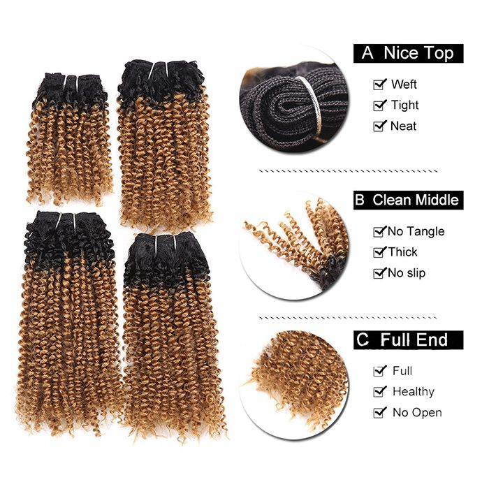 4 Pieces Short Cork Curly Synthetic Hair Weaves