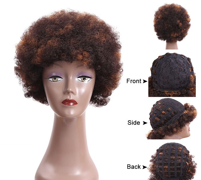 Fluffy Short Afro Curly Heat Resistant Synthetic Wig