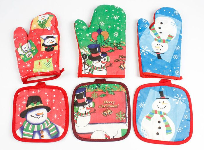 Christmas Snowman Pattern Cooking Oven Glove and Pad