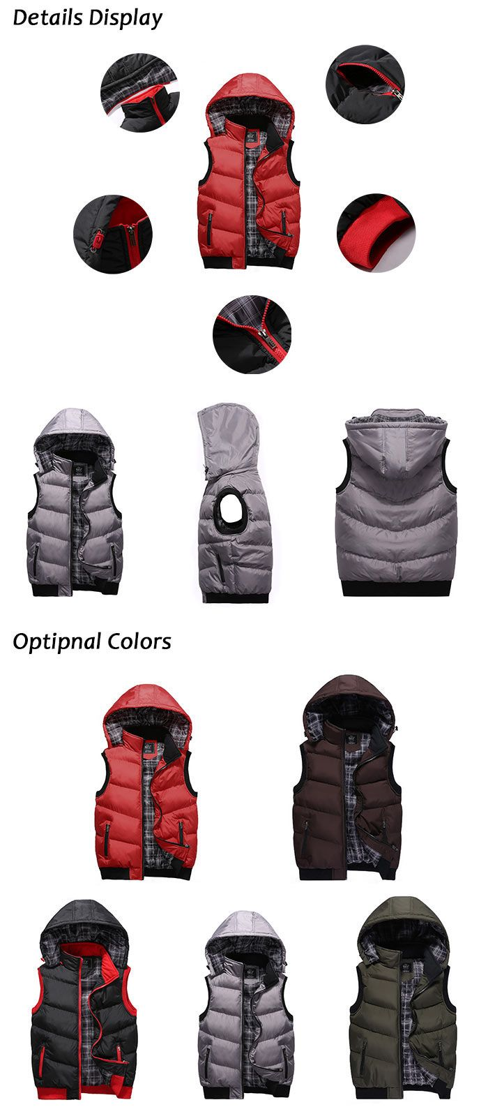 Zip Up Detachable Hood Padded Vest
