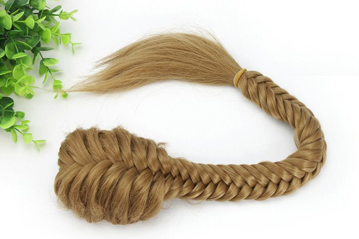 Long Straight Fishtail Braids Ponytail Clip-in Plaited Rope Synthetic Hair Extension
