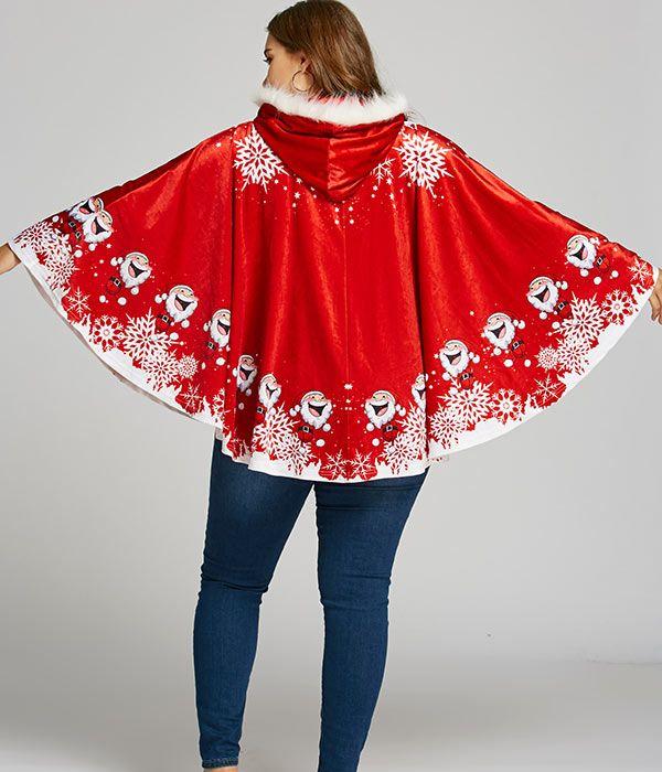 Plus Size Santa Claus Print Velvet Cape Coat